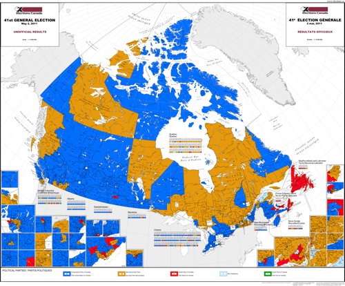 A small version of Elections Canada's map of the 2011 preliminary results