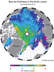 ESA: Sea ice thickness in the Arctic ocean