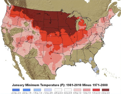 NOAA Climate Normals: January Minimum Temperature (F): 1981-2010 vs. 1971-2000