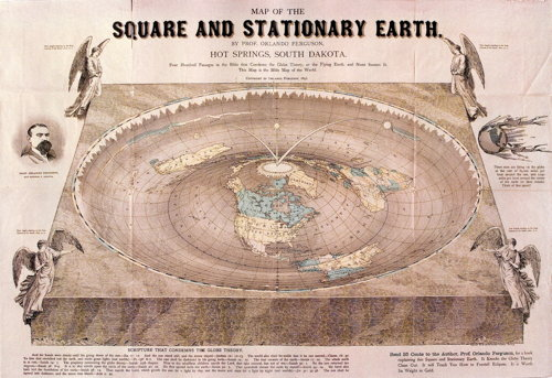 Map of the Square and Stationary Earth by Prof. Orlando Ferguson (1893)