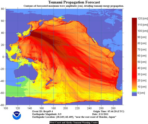 NOAA map of tsunami energy propagation